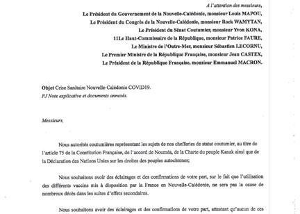 Courrier des Grandes Chefferies (CNDPA-KNC) au Gouvernement, Congrès, Sénat Coutumier, Etat Français