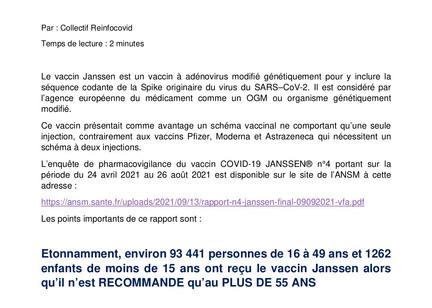 Des nouvelles du Vaccin Janssen - Reinfocovid Fr