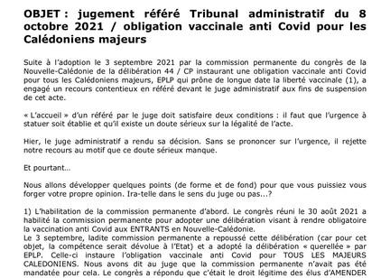 Communiqué EPLP : sur le jugement au TA - Obligation vaccinale