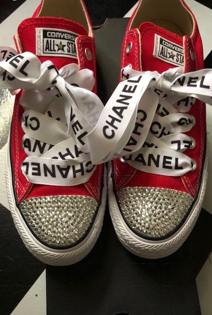Red Low Top Rhinestone Converse Toe and