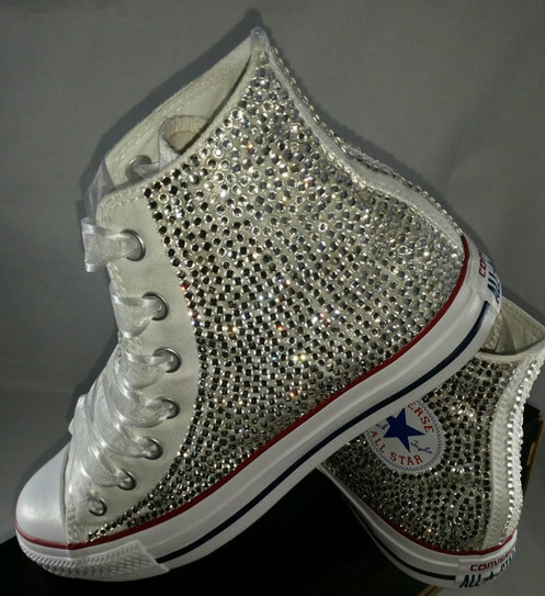 eafff40a183c These are Crystal rhinestone bling high top converse shoes.