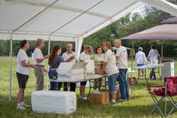 Volunteers prepare