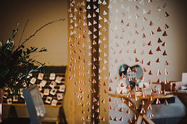 Copper Hanging Paper Cone Backdrop  | The Mill Barns Wedding Venue | AKA Event Styling
