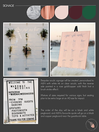 Wedding Styling Plan | Signage | AKA Event Styling