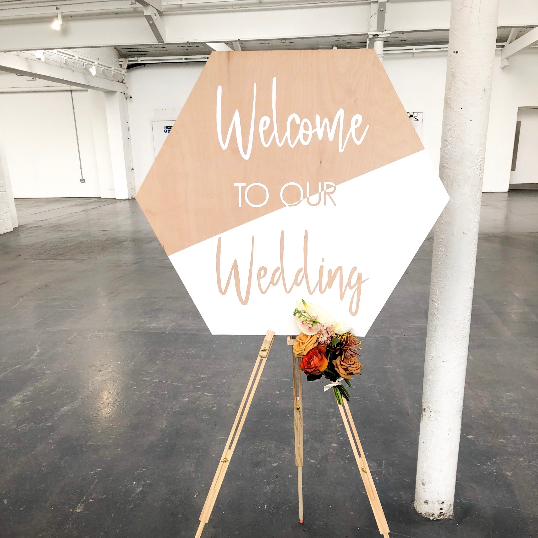 Hand-Painted Hexagon Wedding Sign