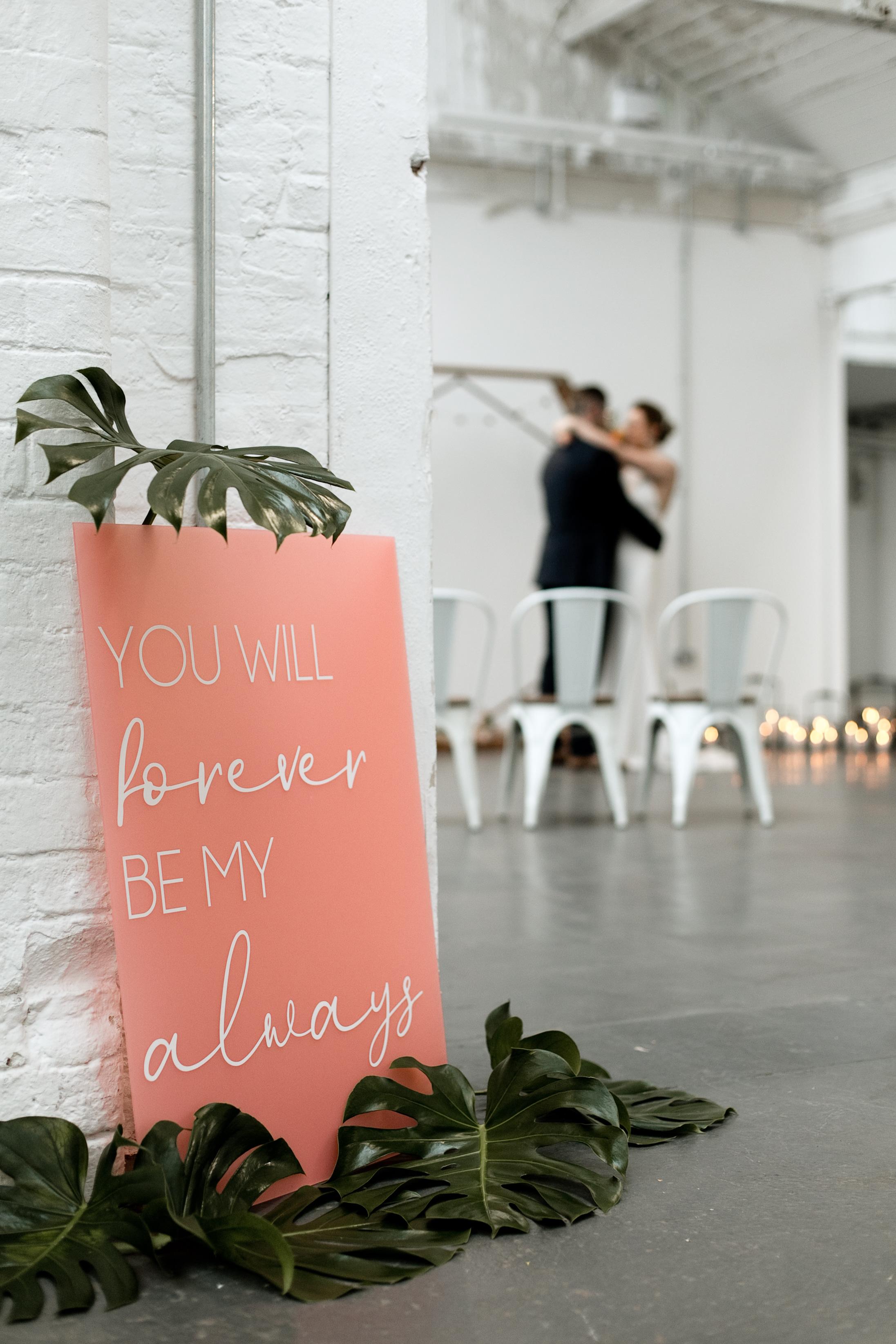 Peachy Pink Acrylic Wedding Sign