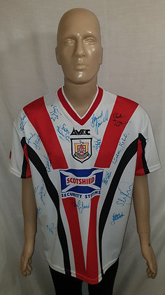 """1999/00 Airdrieonians Home Shirt: Size 42/44"""" (Signed)"""