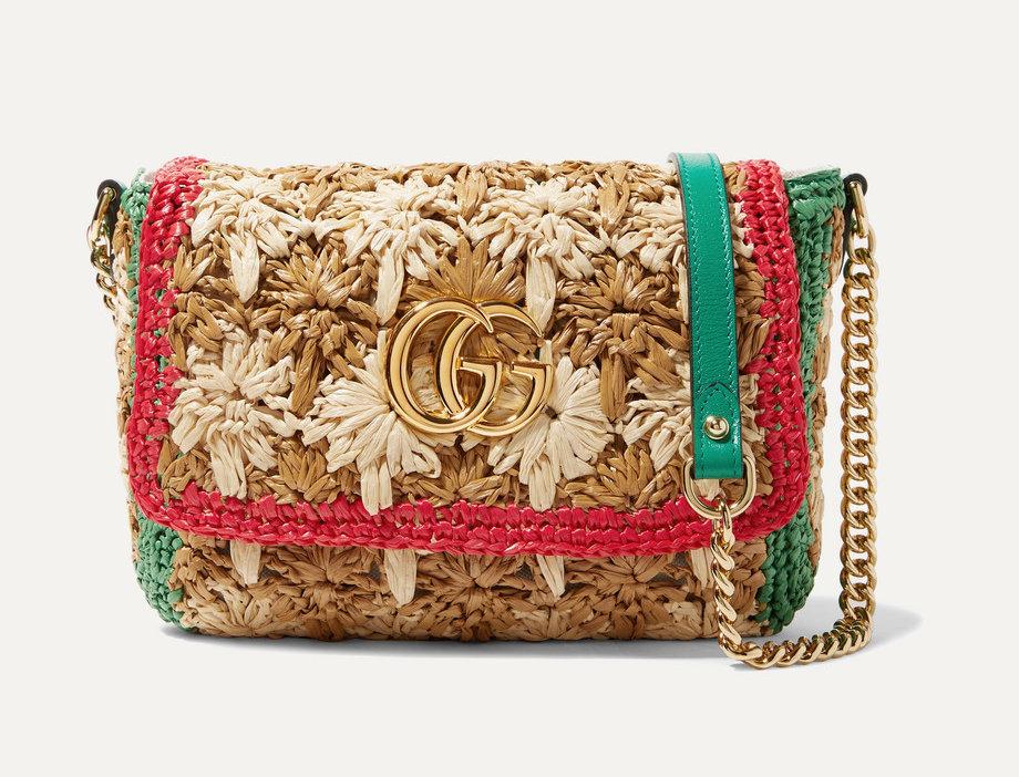 GM raffia shoulder bag