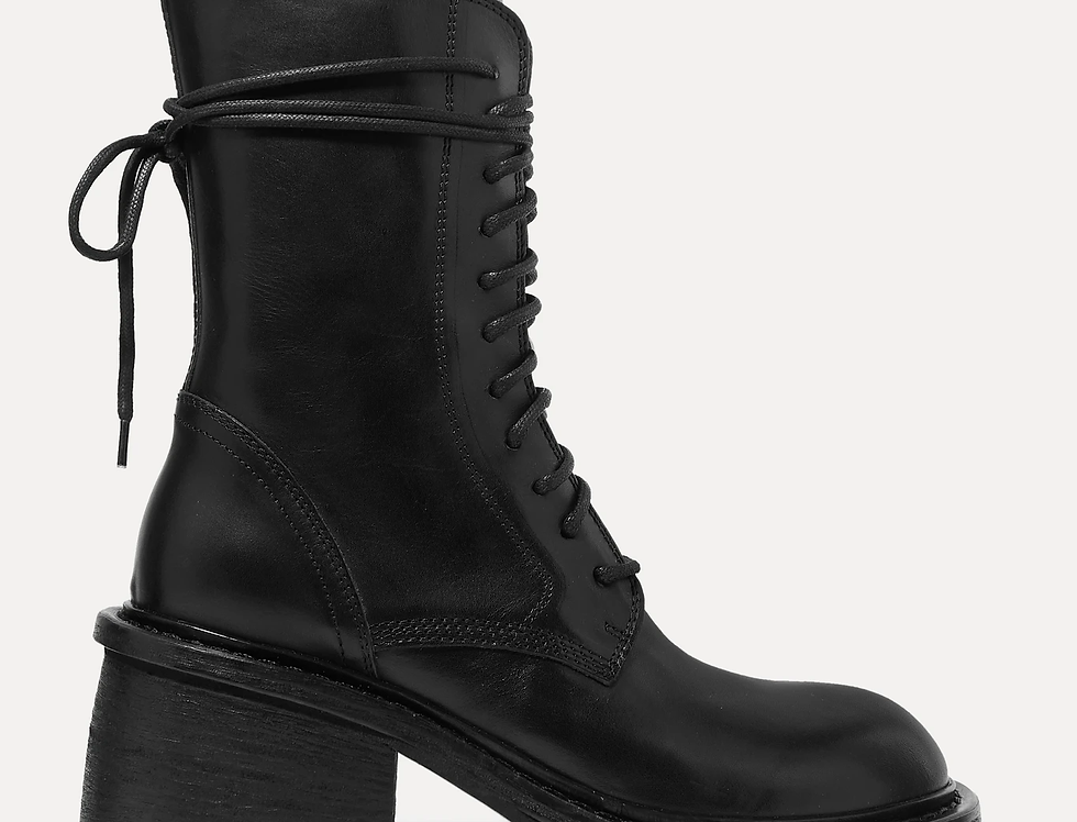 AD Lace-up leather ankle boots