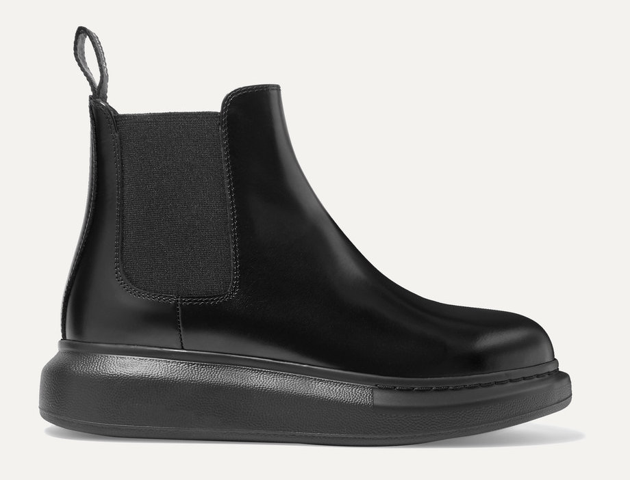 Glossed Exaggerated-Sole Boots