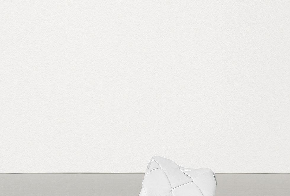 White intrecciato leather slides
