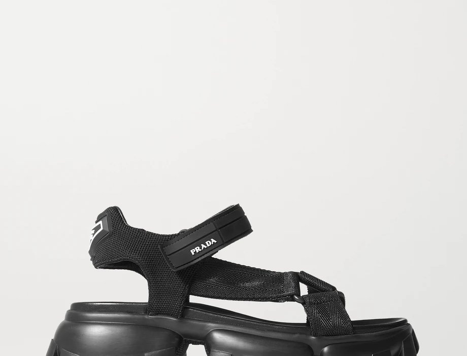 Black thunder rubber-trimmed canvas sandals