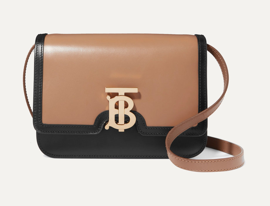 Small two-tone leather shoulder bag