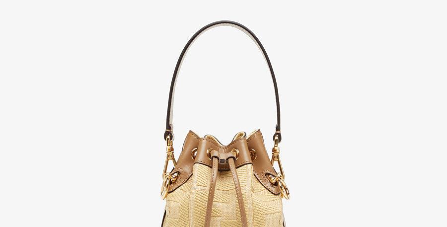 MT bucket beige raffia mini bag
