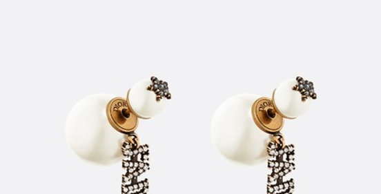 DT gold-finish metal and white crystals earrings