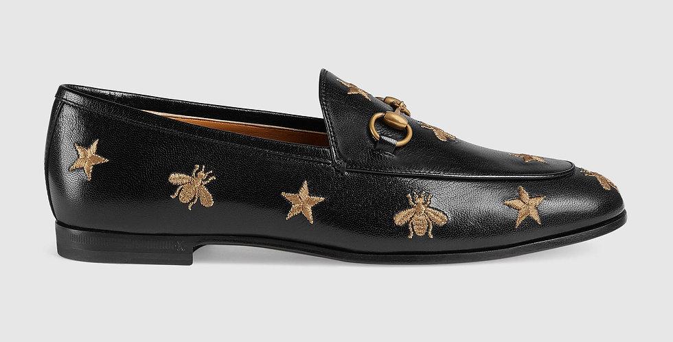 Black GJ embroidered leather loafer