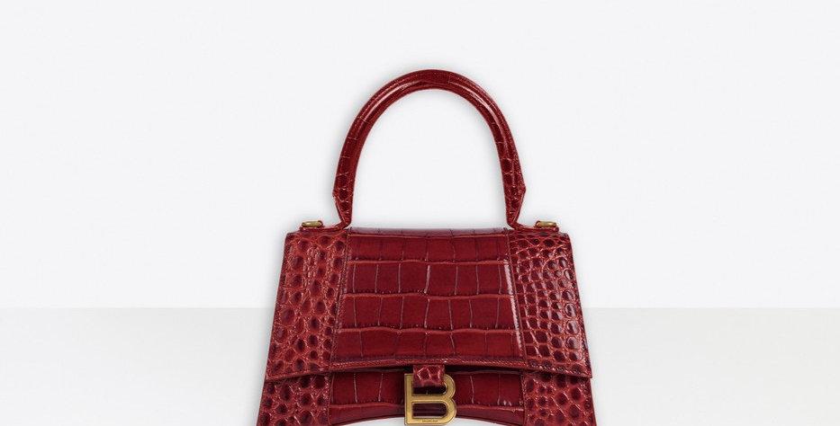 Burgundy shiny crocodile small top handle bag
