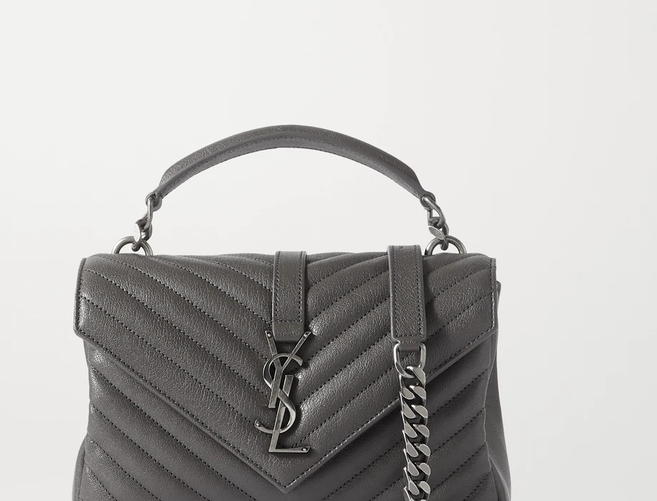 Dark gray College medium quilted leather shoulder bag