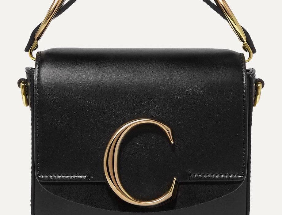 CC mini suede-trimmed leather shoulder bag