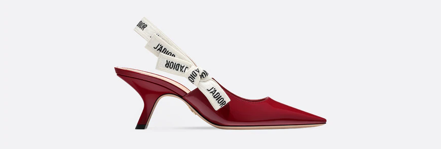 JD slingback in red patent calfskin leather