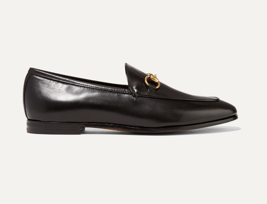 Black GJ leather collapsible-heel loafers