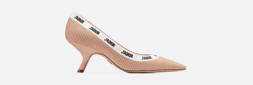 Nude JD embroidered pump