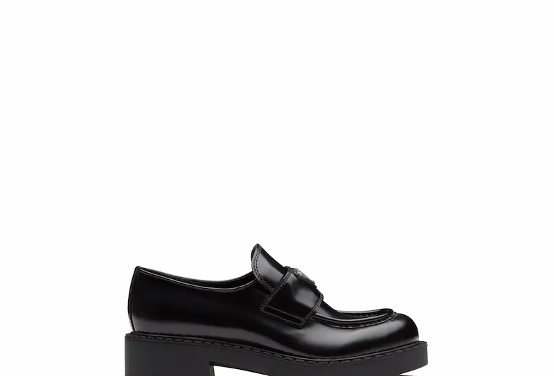 Black brushed leather loafers