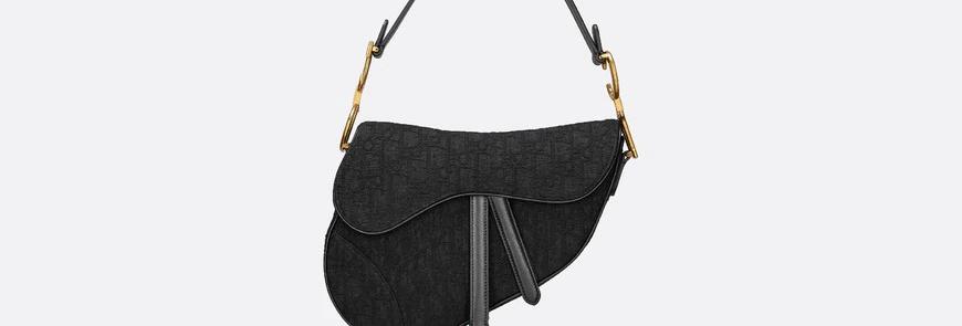 Black DS oblique canvas bag