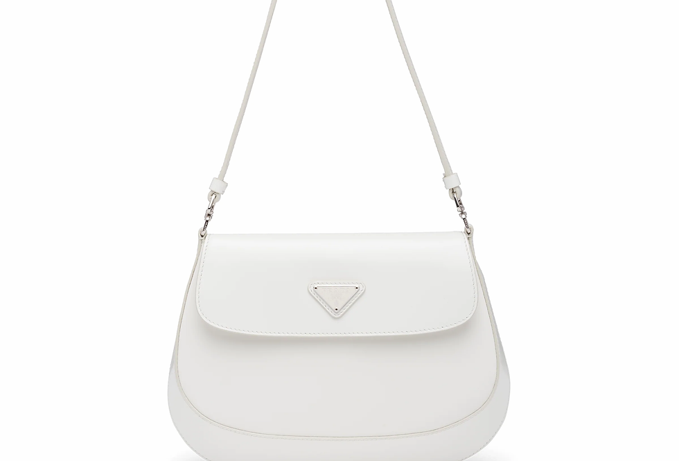 White PC brushed leather shoulder bag with flap
