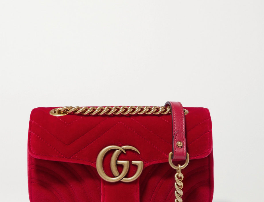 GM mini quilted velvet shoulder bag