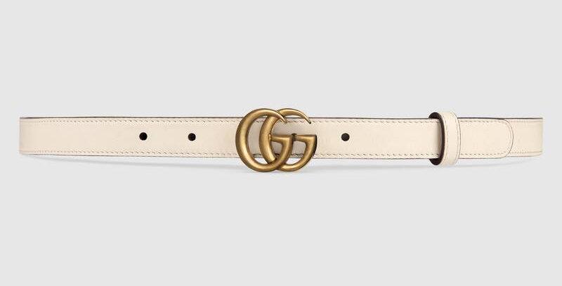White G Leather belt 25 mm