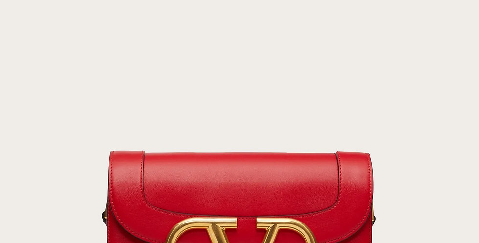 Red VS leather crossbody bag