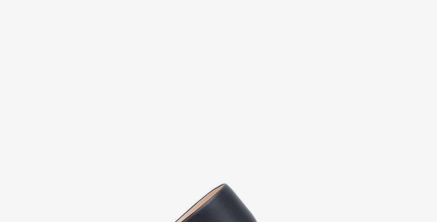 Black F leather slides