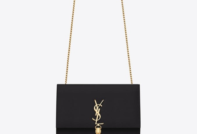Black K medium in gold metal bag