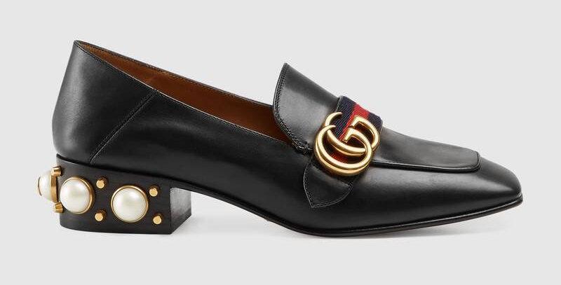 Black mid-heel loafer