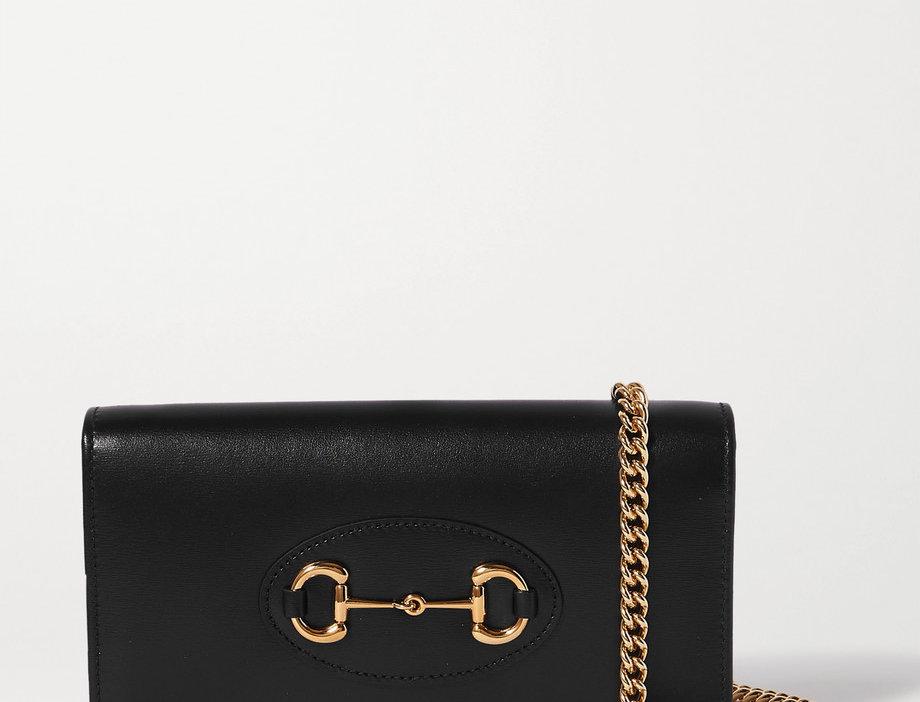GH-Detailed Leather Shoulder Bag