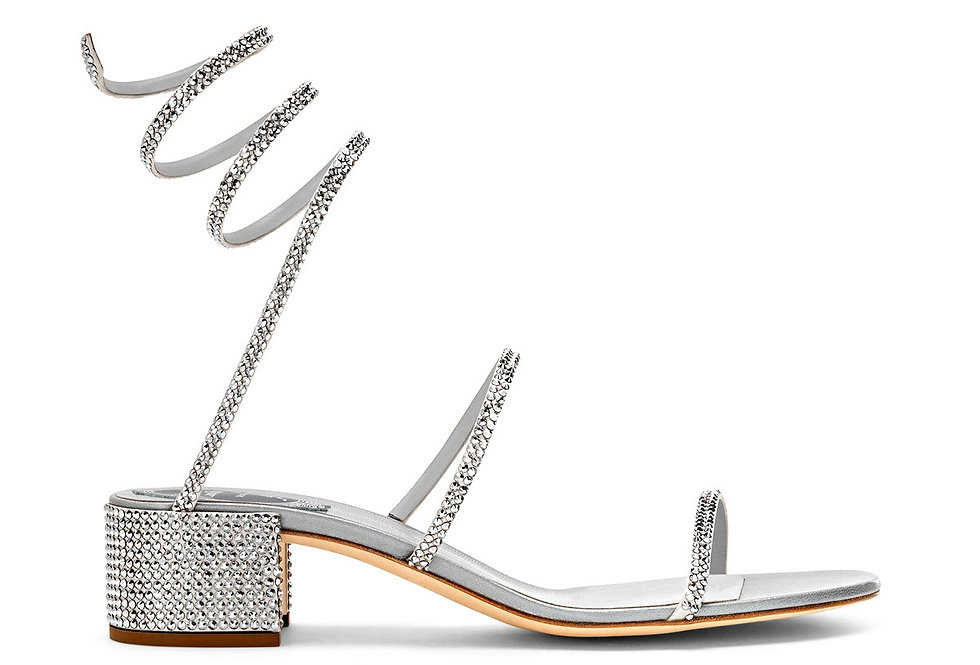 Silver crystal-embellished satin and leather sandals