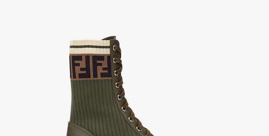 Green Logo-jacquard stretch-knit and leather ankle boots