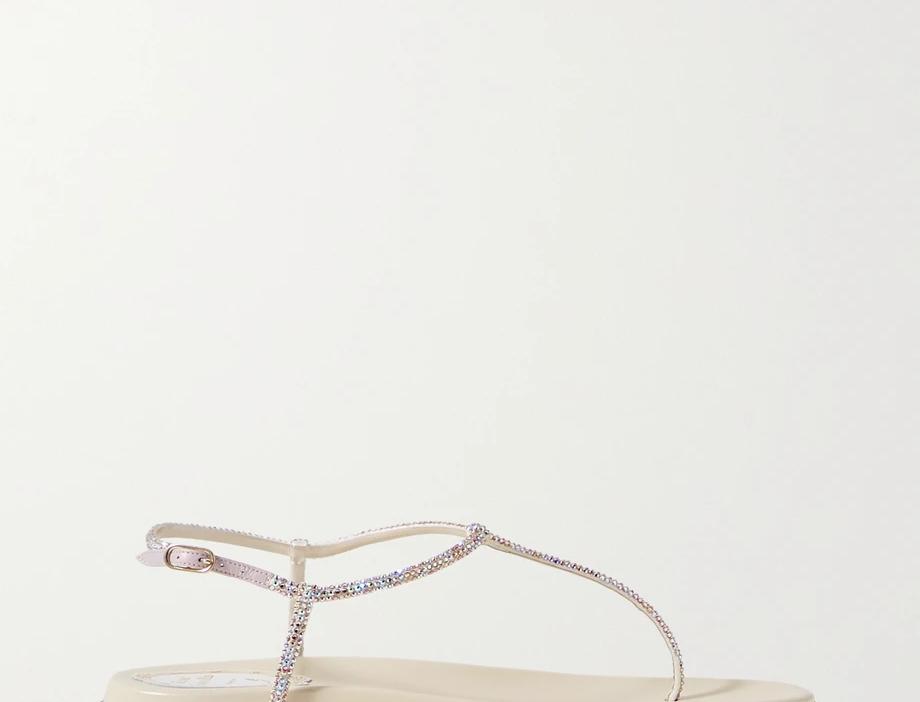 Beige RCD crystal-embellished satin sandals