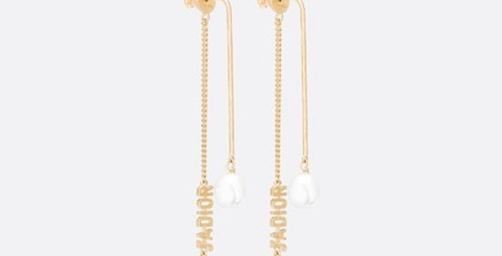 JD earrings gold-finish metal and white glass pearls