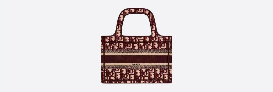 Burgundy oblique embroidered mini DB tote