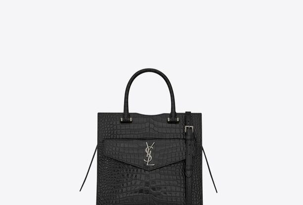 Black SU tote in shiny crocodile leather
