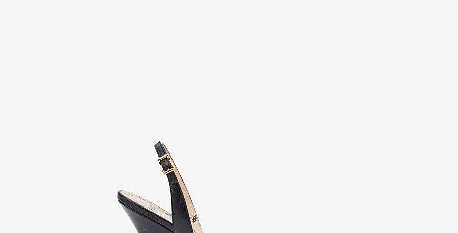 Black F leather sandals
