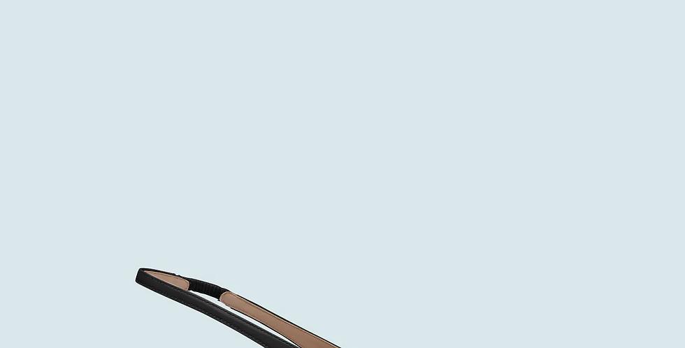 Black MM patent leather slingback pumps