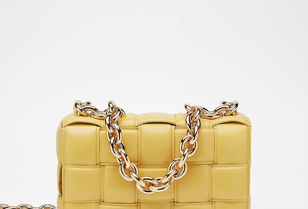 Yellow chain cross-body bag