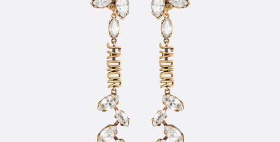 JL  gold-finish metal and white crystals earrings