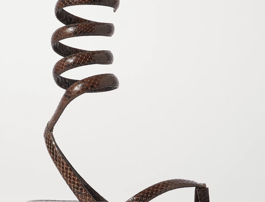 Chocolate snake-effect leather flat sandals