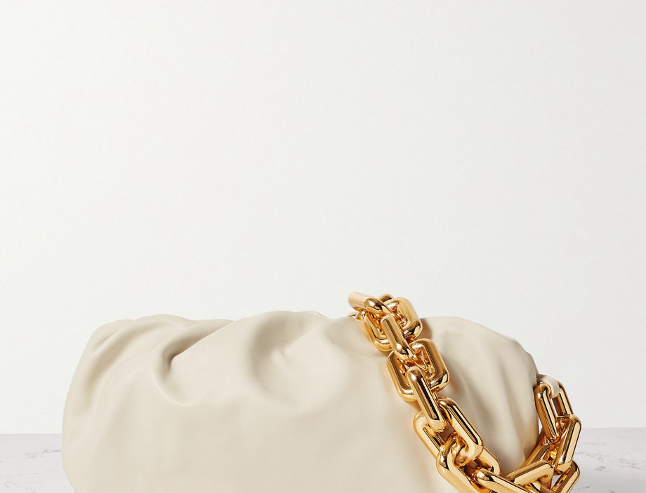 Chain Pouch gathered leather clutch