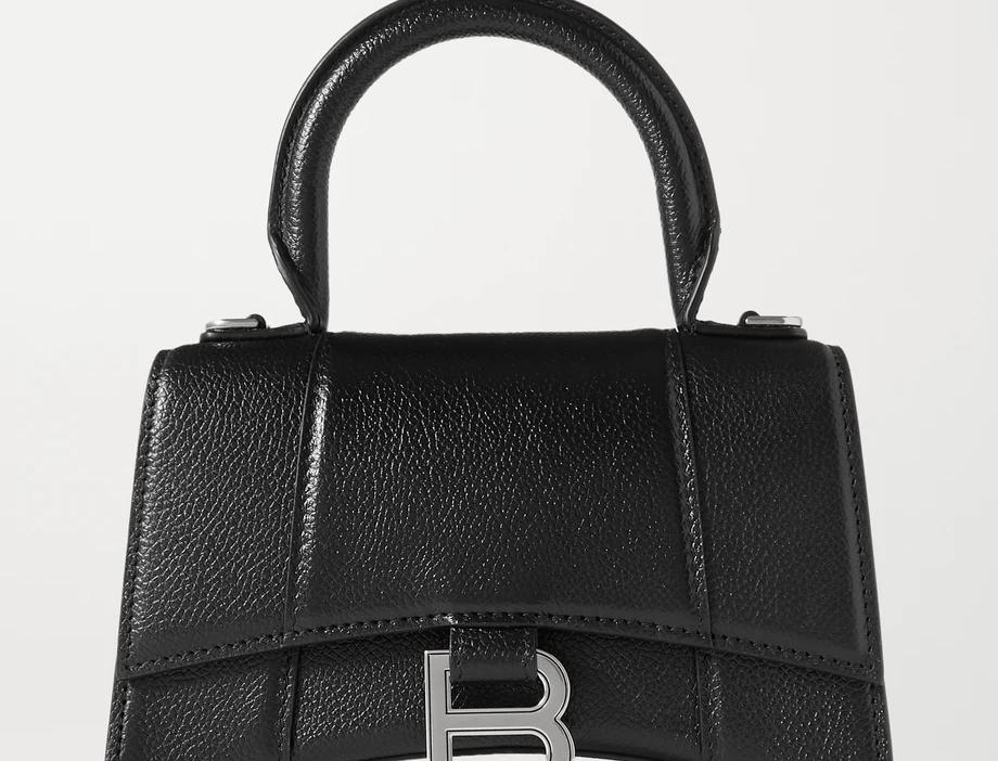 Black shiny leather BH xs top handle bag