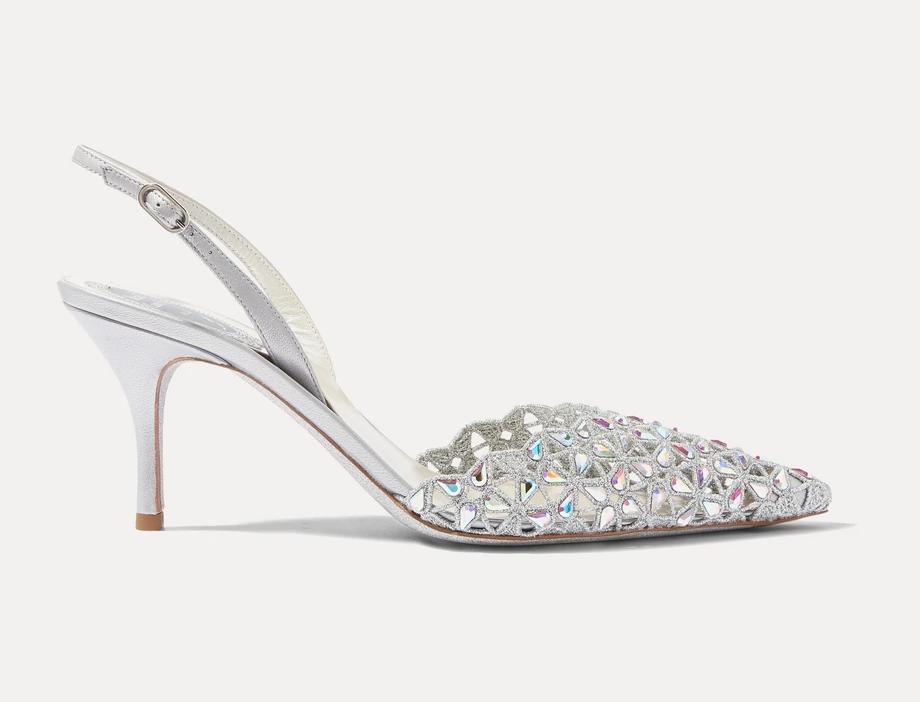 Silver RCM crystal-embellished lace slingback